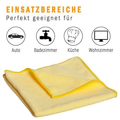 10x Microfasertuch – Reinigungstuch, 40×40 cm, ein perfekter Alleskönner für Haushalt, Küche, Bad, und Auto Innenraum! Abwaschtuch, Putztücher, Staubtücher, gelb, fusselfrei, streifenfrei, weich - 4