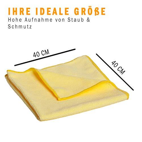 10x Microfasertuch – Reinigungstuch, 40×40 cm, ein perfekter Alleskönner für Haushalt, Küche, Bad, und Auto Innenraum! Abwaschtuch, Putztücher, Staubtücher, gelb, fusselfrei, streifenfrei, weich - 5