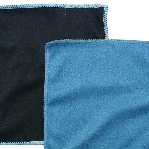Mikrofaser-Reinigungstücher – 5 Stück Packung mit Doppelseitigen Reinigungstüchern (6,6 Zoll x 6,2 Zoll) – Mikrofaser und velour Tuch für die Reinigung von Handys, LCD-TV, Laptop-Bildschirme, Kameraobjektive, Tablets, Besteck, Gläser, Uhren und anderen empfindlichen Oberflächen (Schwarze Seite: Microfaser / Blaue Seite: velour) - 2