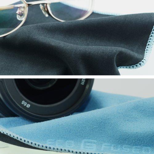 Mikrofaser-Reinigungstücher – 5 Stück Packung mit Doppelseitigen Reinigungstüchern (6,6 Zoll x 6,2 Zoll) – Mikrofaser und velour Tuch für die Reinigung von Handys, LCD-TV, Laptop-Bildschirme, Kameraobjektive, Tablets, Besteck, Gläser, Uhren und anderen empfindlichen Oberflächen (Schwarze Seite: Microfaser / Blaue Seite: velour) - 5