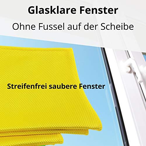 Fenster streifenfrei putzen mit Fenstertuch microfein – Professionelles Microfasertuch Glasreinigung – Modernes Fensterputztuch Glas Scheibe – 3 Fensterputzer Tücher - 5