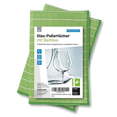 POLYCLEAN Glaspoliertuch MT-2830 - Microfasertuch mit Bambus für streifenfreie Gläser - 60x40 cm, 2er Set (2)