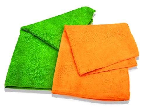 10er Packung Mikrofasertücher in orange & grün in Premium-Qualität – Größe L 40cm x 40cm (16″x16″) – streifenfrei reinigendes Putztuch für Ihr Haus & Auto – fusselfrei und ultra-weich – bis zu 5x saugfähiger als das Eigengewicht – 100%ige Geld-zurück-Garantie - 2