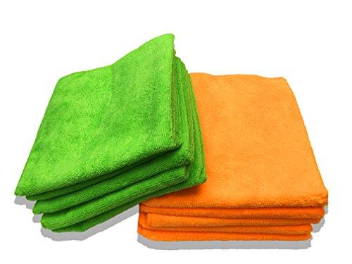 10er Packung Mikrofasertücher in orange & grün in Premium-Qualität – Größe L 40cm x 40cm (16″x16″) – streifenfrei reinigendes Putztuch für Ihr Haus & Auto – fusselfrei und ultra-weich – bis zu 5x saugfähiger als das Eigengewicht – 100%ige Geld-zurück-Garantie - 3