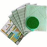 PRIMEO 5er Set Geschirrtücher, Reinigungstuch, Bambus-Tuch, Reinigungsschwamm, Bambus-Fasern, saugstark, ohne Fusseln ohne Schlieren, zeitsparend, mühelos, kristall-klar reinigen, entstauben, trocknen, polieren, auch als Multi-Pack, (hellgrün)