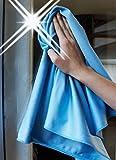 Sonty 2 Stück Fenstertücher Glassy Profiqualität Microfaser 40 x 65 cm blau - 3