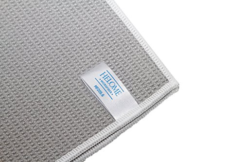 HelOME Microfaser Trockentuch (3 Stck) Geschirrtuch extra saugstark 38 x 60 cm Microfasertuch für Küche, Gastronomie, Auto. Trocknet Fenster, Armaturen, Gläser, Besteck garantiert streifenfrei. Waffelstruktur – Profi-Trockentuch von HELOME - 5