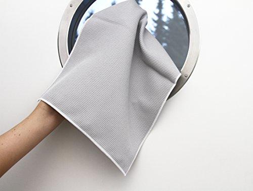 HelOME Microfaser Trockentuch (3 Stck) Geschirrtuch extra saugstark 38 x 60 cm Microfasertuch für Küche, Gastronomie, Auto. Trocknet Fenster, Armaturen, Gläser, Besteck garantiert streifenfrei. Waffelstruktur – Profi-Trockentuch von HELOME - 6