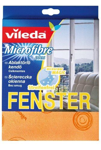 Vileda 120725 Microfaser Glas- & Fenstertuch - für streifenfreien Glanz von Spiegeln & Glasoberflächen - 4er Pack