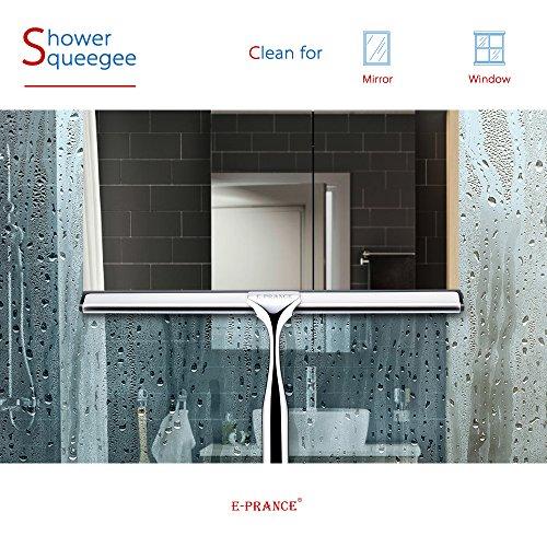 E-PRANCE® Bad- und Duschabzieher Badezimmerwischer Bad- und Duschwischer mit Wandaufhänger, Edelstahl - 2