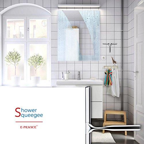 E-PRANCE® Bad- und Duschabzieher Badezimmerwischer Bad- und Duschwischer mit Wandaufhänger, Edelstahl - 4