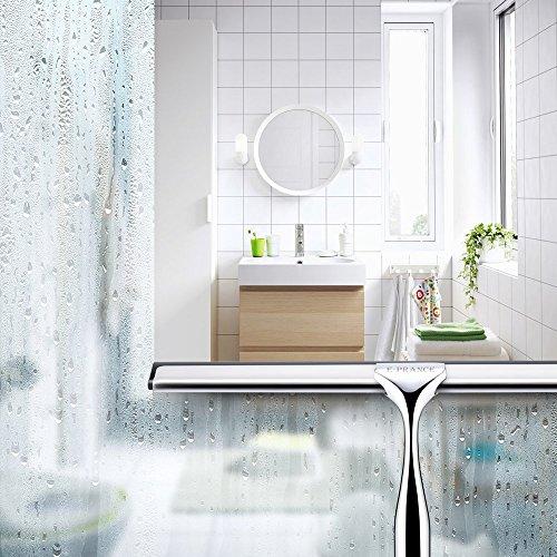E-PRANCE® Bad- und Duschabzieher Badezimmerwischer Bad- und Duschwischer mit Wandaufhänger, Edelstahl - 5