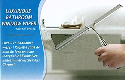 Edelstahl Duschabzieher Wasserschieber für Duschkabine Abzieher Fensterabzieher Fensterwischer mit Wandaufhänger Badezimmerwischer aus Chrom inklusive Wandhalterung ohne Bohren