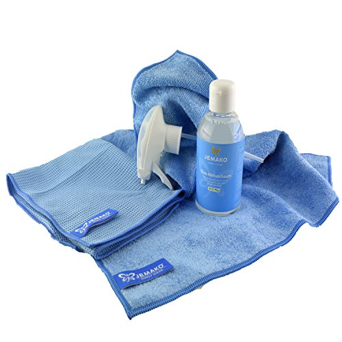 Jemako Set blau mit Profituch & Trockentuch & 250ml Glas Aktivschaum & Schaumpumpe plus 2 x K7plus® Wäschenetze 30 x 40 cm - 3