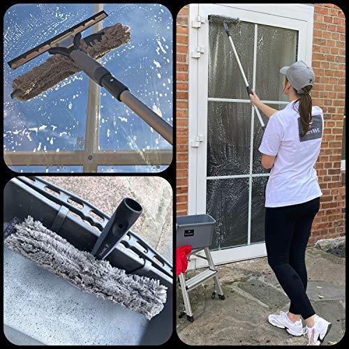 FenWi Profi Komplett-Set für die Glasreinigung mit 25/30cm Kombi Fensterabzieher mit Einwascher, Alu Teleskopstange, Rechteck-Eimer und Zubehör zur Fensterreinigung – ideal als Handgerät-Fensterwischer und Fensterreiniger bis max. 3,30m Höhe - 2