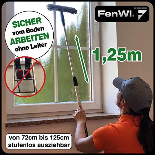 FenWi Profi Komplett-Set für die Glasreinigung mit 25/30cm Kombi Fensterabzieher mit Einwascher, Alu Teleskopstange, Rechteck-Eimer und Zubehör zur Fensterreinigung – ideal als Handgerät-Fensterwischer und Fensterreiniger bis max. 3,30m Höhe - 3