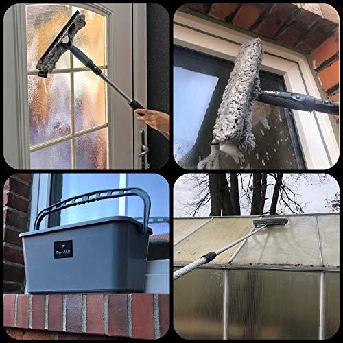 FenWi Profi Komplett-Set für die Glasreinigung mit 25/30cm Kombi Fensterabzieher mit Einwascher, Alu Teleskopstange, Rechteck-Eimer und Zubehör zur Fensterreinigung – ideal als Handgerät-Fensterwischer und Fensterreiniger bis max. 3,30m Höhe - 7