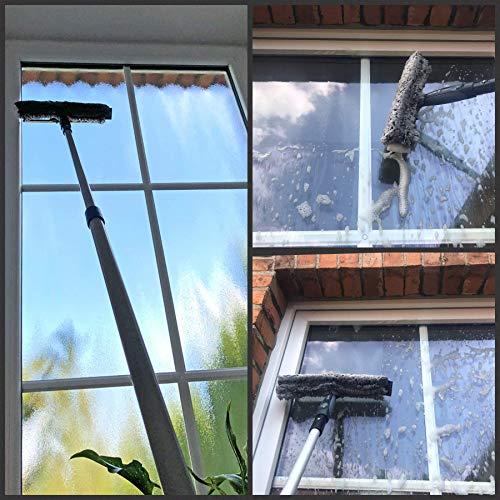 Teleskop Fensterputzer Profi Set mit Abzieher, Gummilippe, Kombi Fensterwischer 30cm und Alu-Teleskopstange 3m – für Wintergarten- Fensterreinigung und Solaranlagen-Reinigung - 2