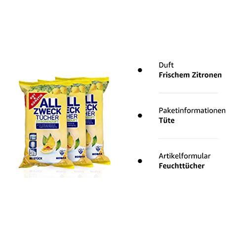 Feuchte Reinigungstücher Antibakteriell in Spenderverpackung 240 Stück – 3er Pack (Inhalt 3 x 80 Stück) – Mit frischem Zitronenduft - 4
